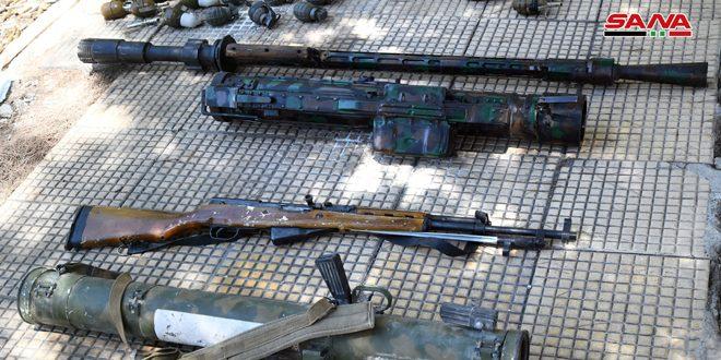 גילוי כלי נשק ותחמושת שהשאירו הטרוריסטים בעיירה ילדא שבריף דמשק