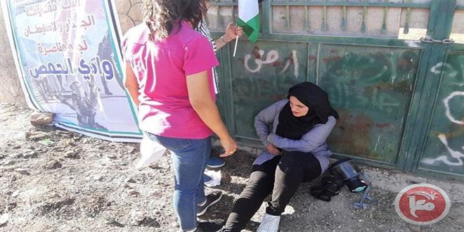 מספר פלסטינים נפגעו משאיפת גז במהלך פשיטתם של כוחות הכיבוש על שכונת ו'אדי אל-חומס בדרום אל-קודס