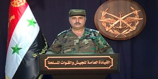 המפקדה הכללית של הצבא מצהירה על טיהור ח'אן שיח'ון יחד עם כמה כפרים, עיירות ותילים אסטרטגיים בפאתי חמא ואידלב