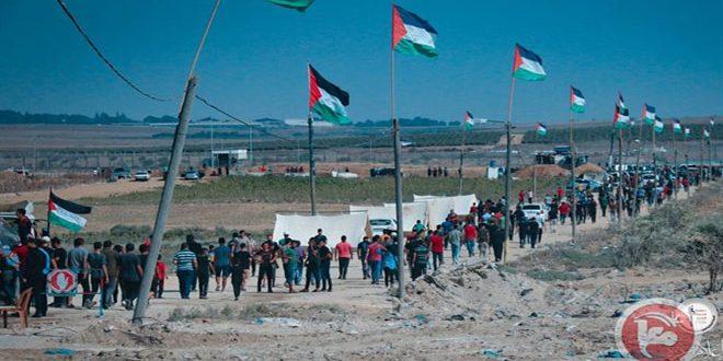 נפילת פצועים ונחנקים פלסטינים במהלך דיכוי צעדות השיבה