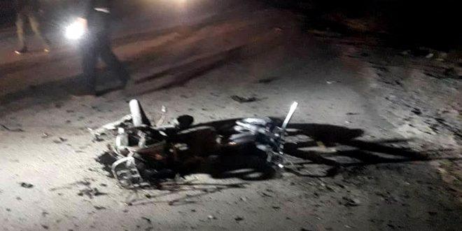 נזקים נגרמו בשל התפצצות אופנוע ממולכד ליד כיכר ח'שמאן בעיר אלחסכה