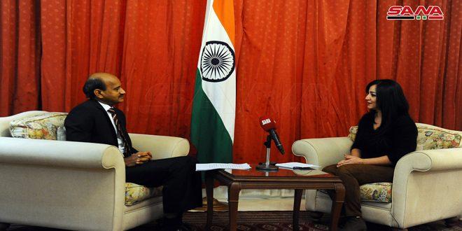 שגריר הודו בדמשק חזר על תמיכת ארצו בריבונות סוריה ובאחדות שטחיה, ובזכותה ללחום בטרור על כל צורותיו