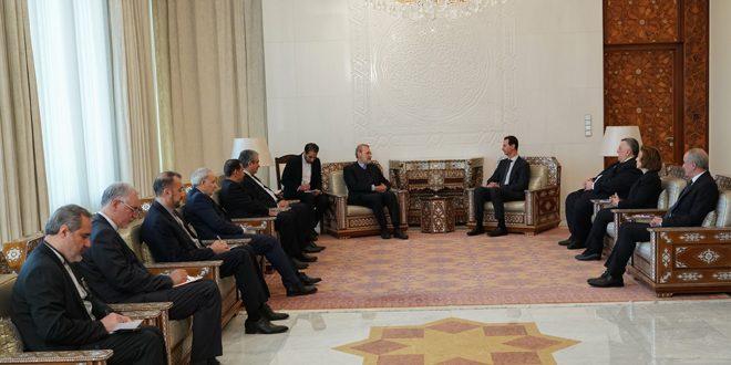 הנשיא אל-אסד למשלחת של מועצת השורא האיראנית בראשותו של לאריג'אני: העם הסורי מתעקש לשחרר את מלוא השטחים הסוריים מידי הטרור