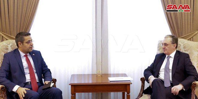שר החוץ הארמני מדגיש את עמדת ארצו התומכת בסוריה