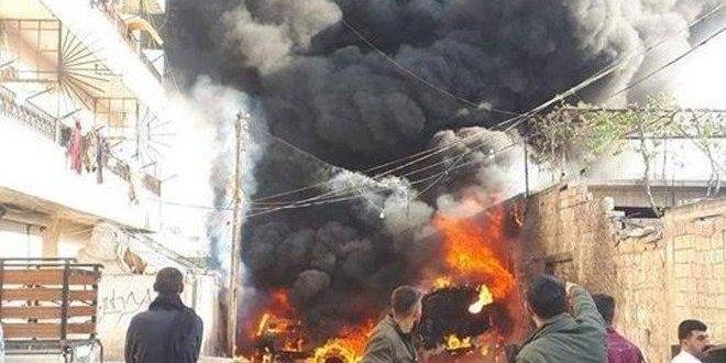 התפוצצות מטען חומר נפץ במיכל דלק בעיר עפרין בפרבר חלב הצפוני