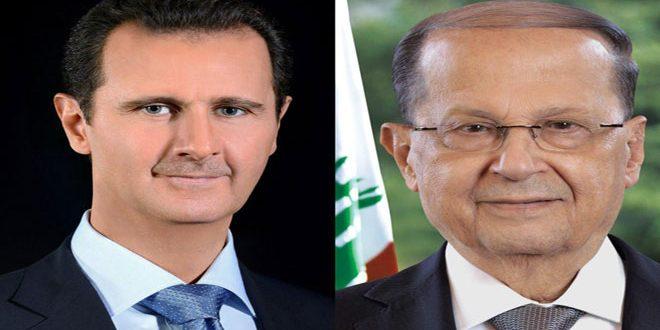 הנשיא מר בשאר אל-אסד שלח מברק לנשיא עוון: אנו עומדים לצד לבנון עם כהנהגה