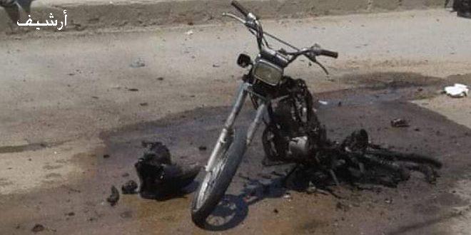 אזרח נפל חלל ו-7 אחרים נפצעו בהתפוצצות אופנוע ממולכד בעיר ג'ראבלס בפריפריה הצפונית של חלב