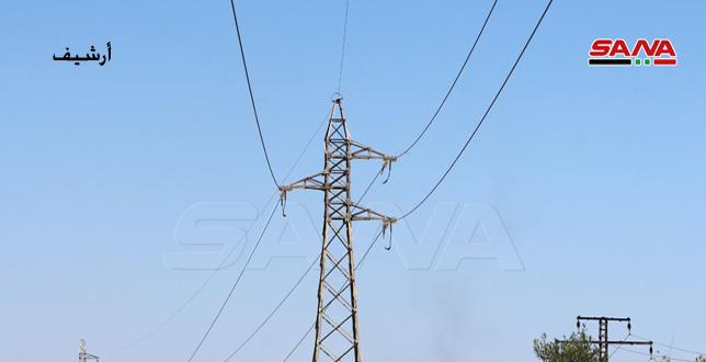 שכירי החרב של הכיבוש הטורקי גונבים את עמודי החשמל של רשת המתח הגבוה באזור אבו ראסין בריף אלחסכה