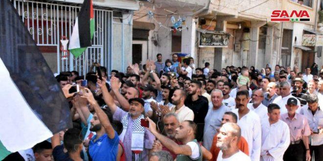 תהלוכה המונית במחנה הפליטים של חמאת כאות תמיכה בעם הפלסטיני