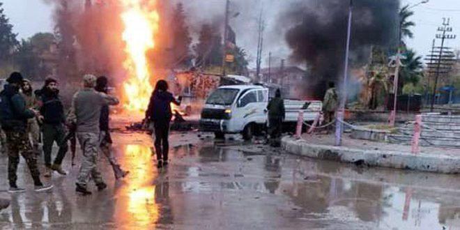 В городе Рас Аль-Айн в результате двух взрывов 2 мирных жителя погибли, еще 6 получили ранения