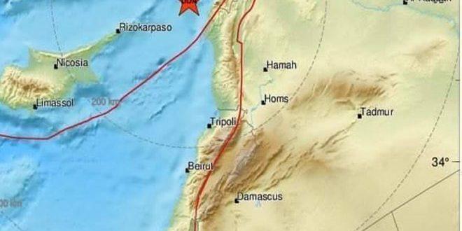 На побережье Сирии произошло землетрясение магнитудой 4,7