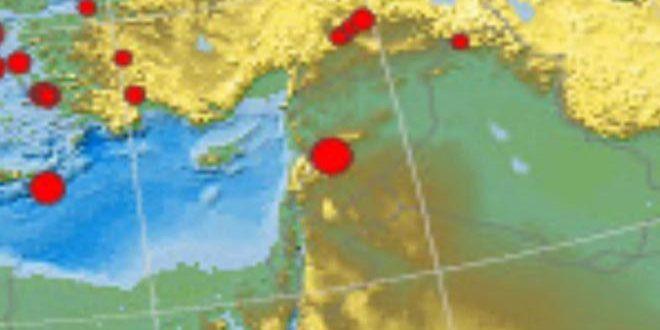 Юго-восточнее города Хомс произошло землетрясение силой 3,6 балла