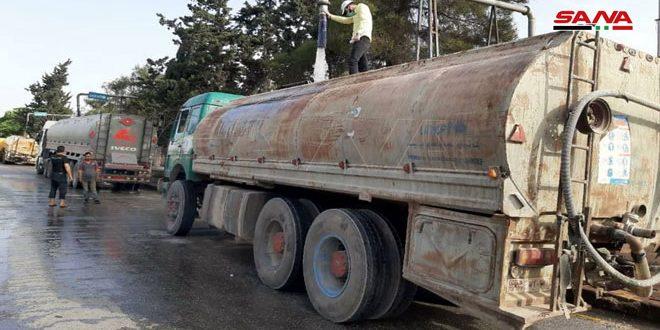 Доставка воды жителям освобожденных районов провинции Идлеб