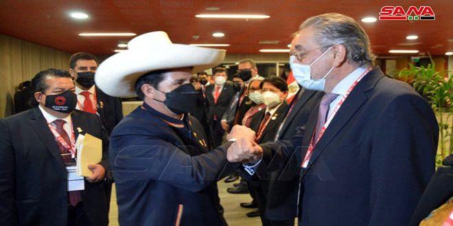 Президент Аль-Асад поздравил президента Перу Кастильо по случаю инаугурации