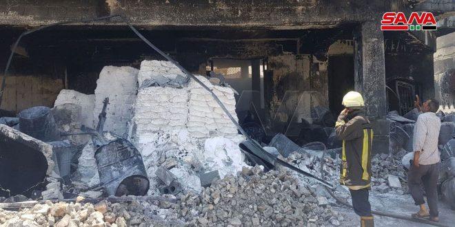 Потушен пожар на фабрике по производству краски в промзоне Алеппо