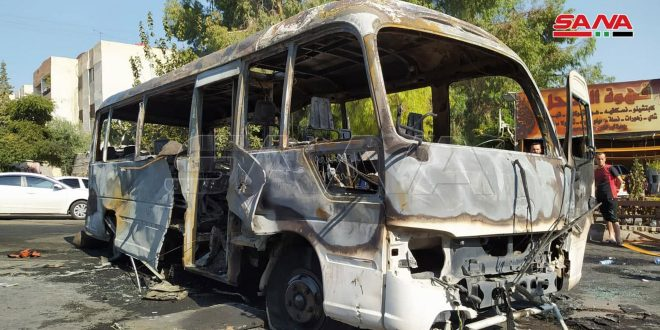 В Дамаске близи квартала Машруа Думмар в автобусе из-за короткого замыкания произошел взрыв