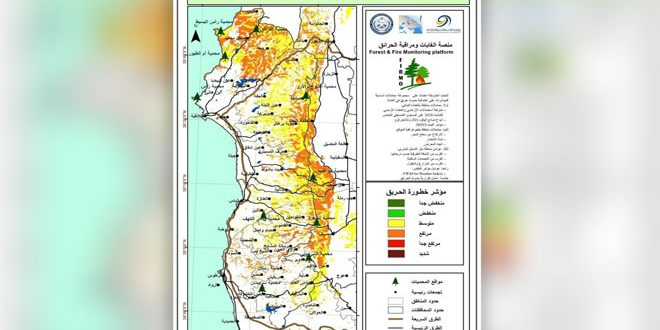 В лесных массивах Сирии фиксируется высокий и средний уровень пожароопасности