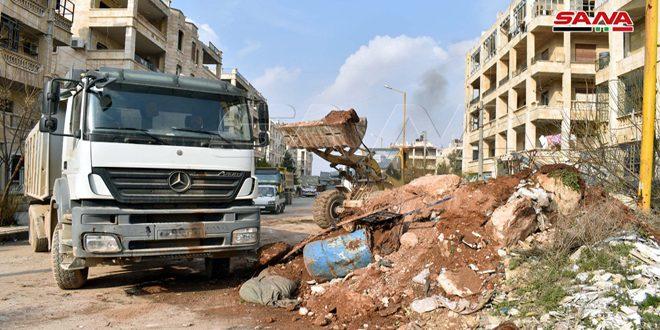 Terörden Kurtarılan Halep'in Batısındaki Bölgelerde Enkaz Kaldırma ve Yolları Açma Çalışmaları Sürüyor