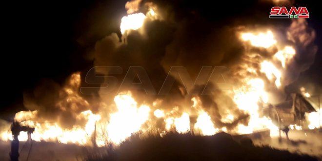 Suriye Ham Petrol Taşıma Şirketi'nde Bir Tanker Patladı.. İtfaiye Ekipleri Yangına Müdahale Ediyor
