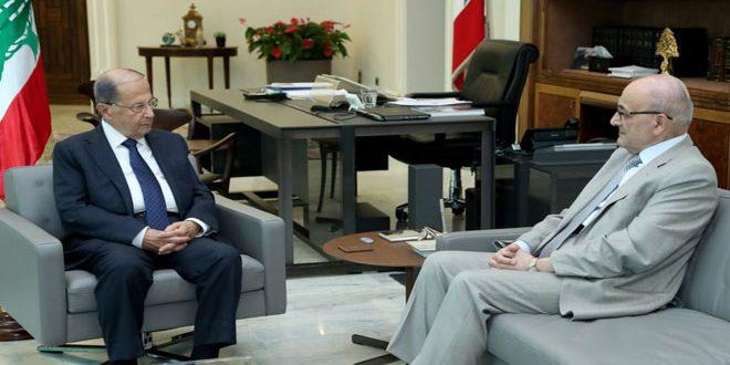 عون يبحث مع خوري انسياب البضائع اللبنانية عبر معبر نصيب