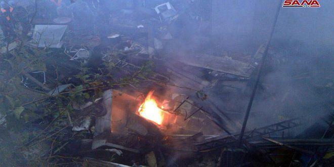 حريق في منطقة الدويلعة بدمشق