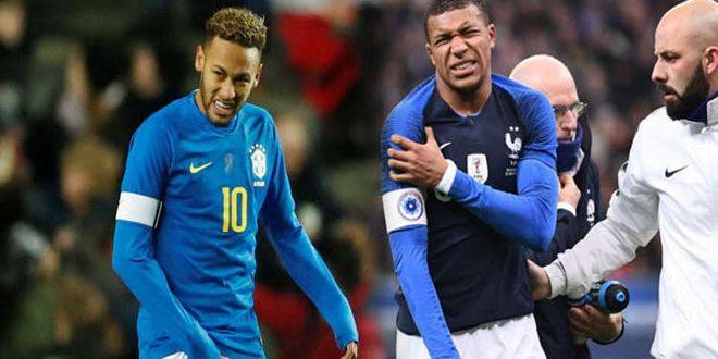 إصابة لاعبي باريس سان جيرمان نيمار ومبابي خلال مواجهات دولية