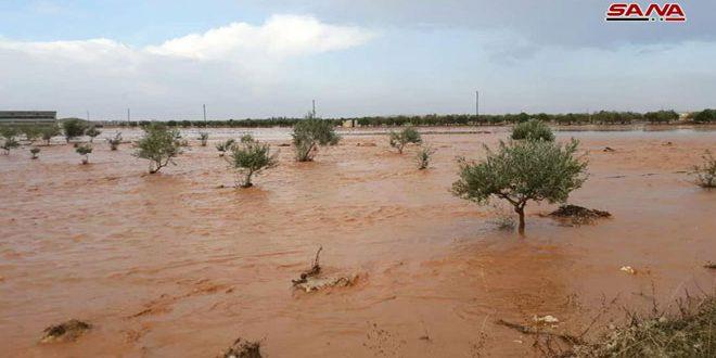 الأمطار الغزيرة تتسبب بانقطاع طريق سلمية-قرية الربا بريف حماة الشرقي
