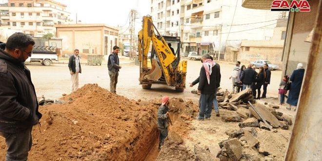 المشاريع المائية: شبكة مياه الكسوة وأبنية مدرسة الشرطة بالغزلانية في مراحلهما الأخيرة