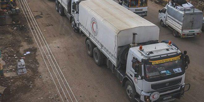 الهلال الأحمر يدخل 7200 سلة غذائية إلى مدينة انخل