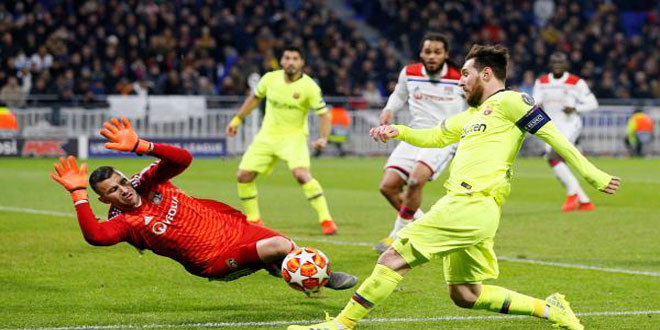 برشلونة يتعادل سلبا مع ليون في ذهاب دوري الـ16 بدوري أبطال أوروبا لكرة القدم