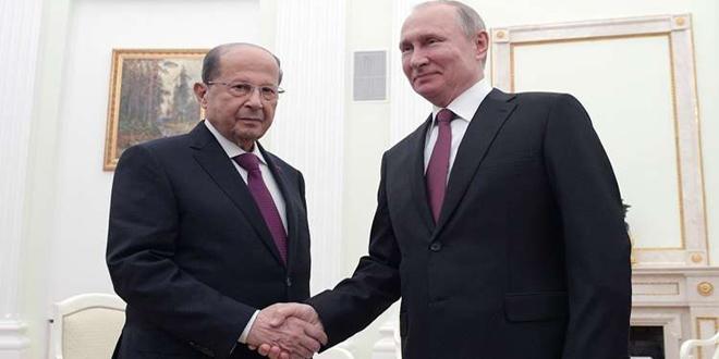 بوتين وعون: ندعم جهود سورية في محاربة الإرهاب