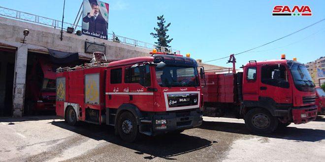 جهود حثيثة يبذلها رجال الإطفاء للسيطرة على الحرائق