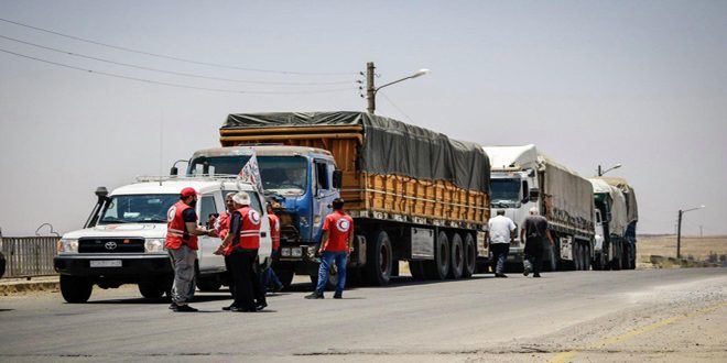 توزيع 2300 سلة غذائية ومثلها من الطحين على أهالي صيدا بريف درعا