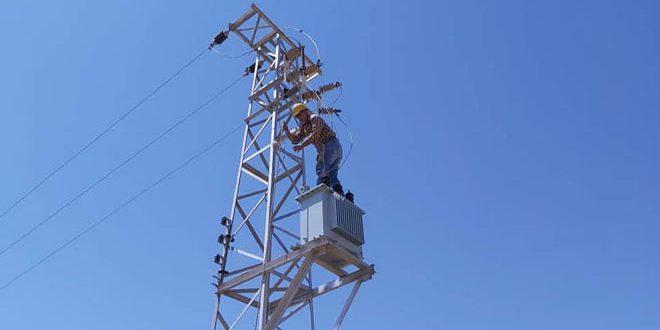 تأهيل وصيانة الشبكة الكهربائية في ريف حماة الجنوبي