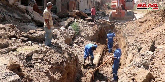 بنسبة تنفيذ 50 بالمئة… تواصل مشروع تأهيل شبكة المياه الفرعية في حي الحميدية بدير الزور