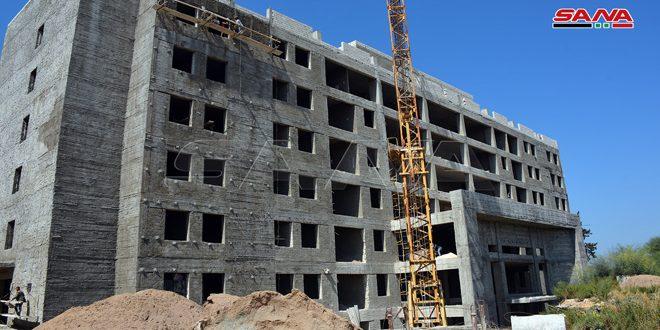 إنجاز جزء كبير من أعمال إكساء وتجهيز مشفى جبلة