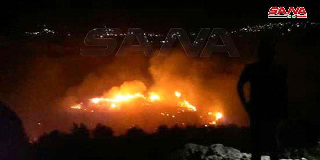 إخماد الحريق بين قريتي بعمرائيل وبارمايا وحريقين آخرين في ريف طرطوس