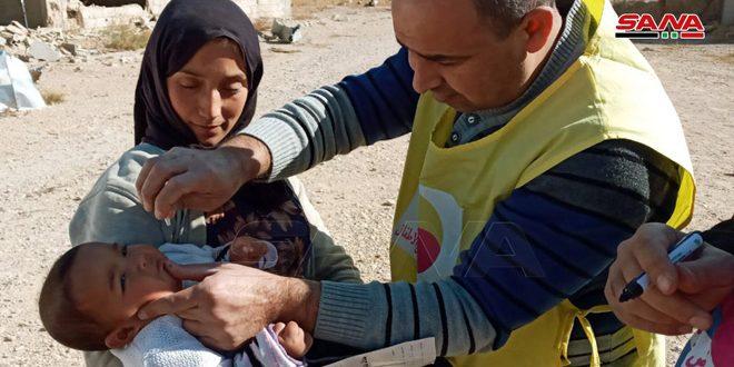 انتهاء حملة التلقيح الوطنية ضد شلل الأطفال في تدمر وباديتها
