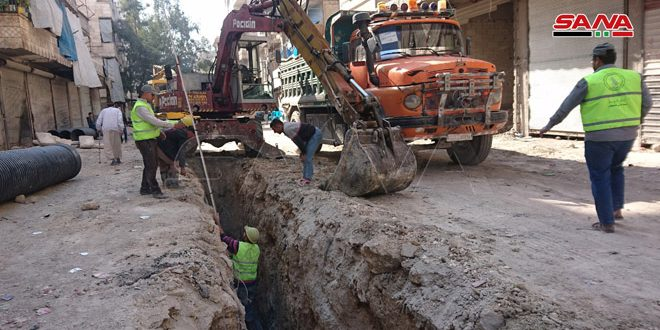 استبدال شبكة الصرف الصحي بحي الفردوس في حلب المتضررة جراء الإرهاب