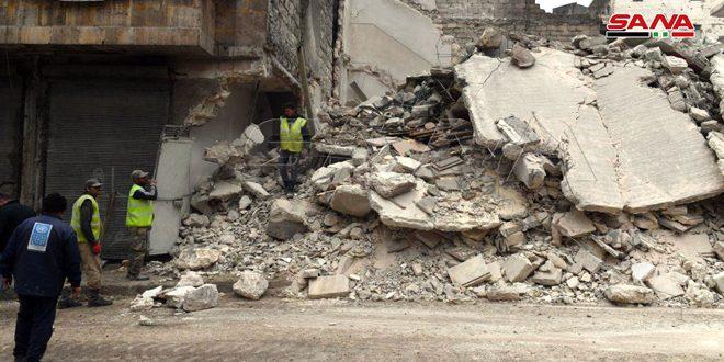 انهيار مبنى سكني مخالف بحي كرم البيك بحلب دون وقوع ضحايا
