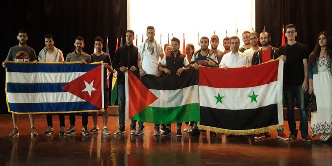 طلبتنا في كوبا يعربون عن تضامنهم مع الشعب الفلسطيني