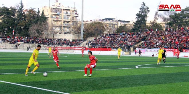 من مباراة الاتحاد وضيفه تشرين على أرض ملعب 7 نيسان في حلب