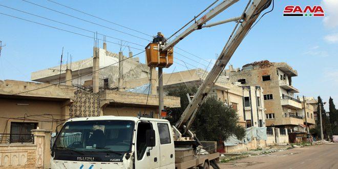 تأهيل شبكات وتركيب مراكز تحويل في عدد من المناطق بدرعا بقيمة 463 مليون ليرة