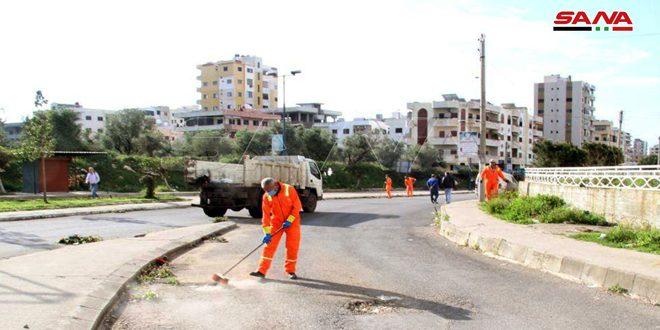 حملات نظافة وتعقيم مستمرة في طرطوس للتصدي لفيروس كورونا