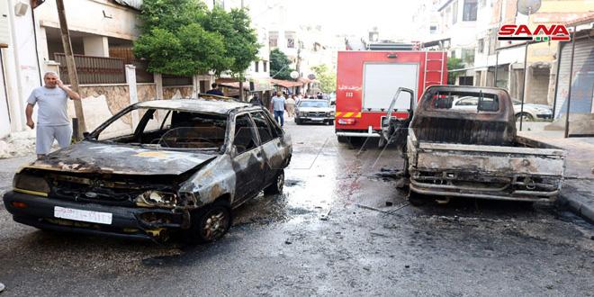 احتراق سيارتين في اللاذقية دون وقوع إصابات