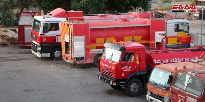 استنفار على مدار الساعة.. فوج إطفاء درعا يخمد 450 حريقاً في أيار