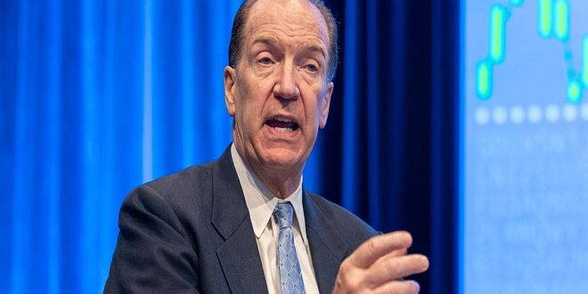 رئيس البنك الدولي يؤكد أن تراجع الاستثمارات سيعوق التعافي الاقتصادي