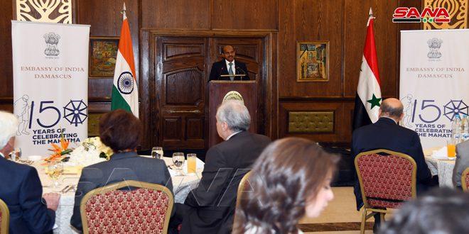 حفل استقبال للسفارة الهندية بدمشق بمناسبة ميلاد المهاتما غاندي