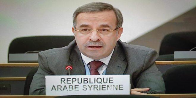 السفير آلا: مجلس حقوق الإنسان تجاهل حقيقة أن الإجراءات القسرية أحادية الجانب هي سبب الواقع المعيشي الصعب للشعب السوري