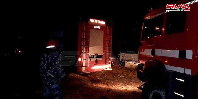 عناصر إطفاء طرطوس يخمدون حريقاً نشب في قرية بيلة في منطقة دوير الشيخ سعد